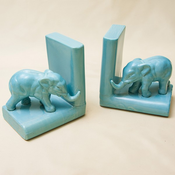 Винтажные Фаянсовые Держатели Подставки для книг «Голубые Слоны» Бельгия 50 -е годы ХХ век.