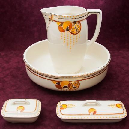 Фаянсовый Набор для умывания «Золотые шары» Boch Freres Keramik, Бельгия 30 -е годы ХХ века.