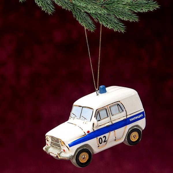 Новогодние Фарфоровые Ёлочные игрушки - «УАЗик - Милиция» - Стилизация «Мы родом из СССР».