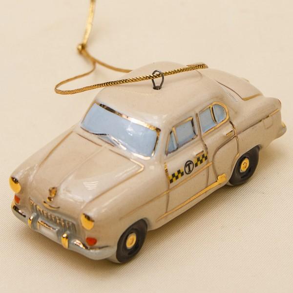 Новогодние Фарфоровые Ёлочные игрушки - «Волга-Такси» - Стилизация «Мы родом из СССР».