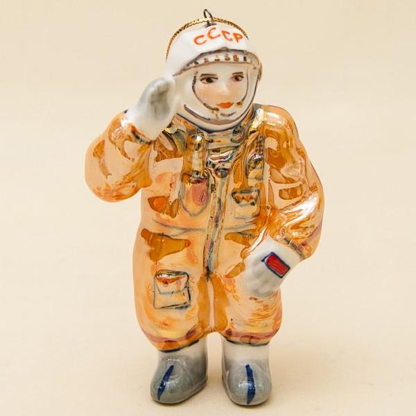 Новогодние Фарфоровые Ёлочные игрушки - «Советский Космонавт» - Стилизация «Мы родом из СССР».