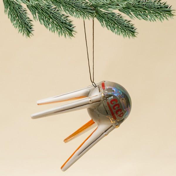Новогодние Фарфоровые Ёлочные игрушки - «Первый Спутник» - Стилизация «Советский Космос».