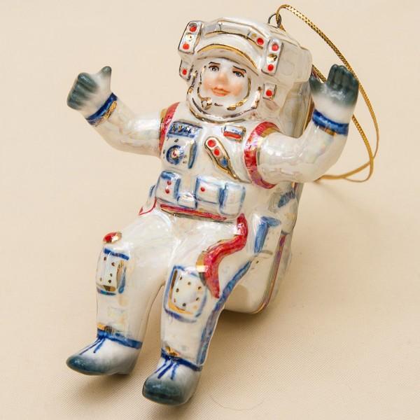 Новогодние Фарфоровые Ёлочные игрушки - «В открытом Космосе» - Стилизация «Мы родом из СССР».