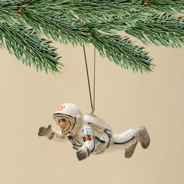 Новогодние Фарфоровые Ёлочные игрушки - «Космонавт в невесомости» - «Мы родом из СССР».