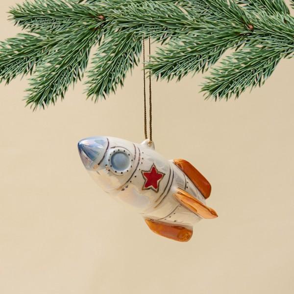 Новогодние Фарфоровые Ёлочные игрушки - «Ракета СОЮЗ» - Стилизация «Мы родом из СССР».