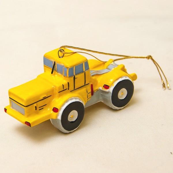 Новогодние Фарфоровые Ёлочные игрушки - Ретро Трактор «Кировец» - Стилизация «Мы родом из СССР».