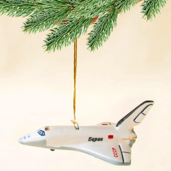 Новогодние Фарфоровые Ёлочные игрушки - Космический корабль «БУРАН» - «Мы родом из СССР».