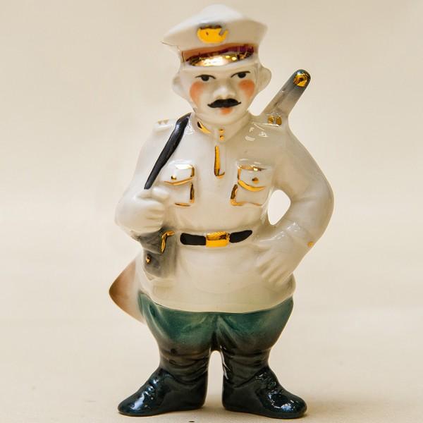 Новогодние Фарфоровые Ёлочные игрушки - «Милиционер» - Стилизация «Мы родом из СССР».