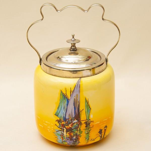 «Рыбацкий Баркас» - Бисквитница - Сахарница - Баночка с крышкой, Фарфор Англия 30-е годы ХХ века.