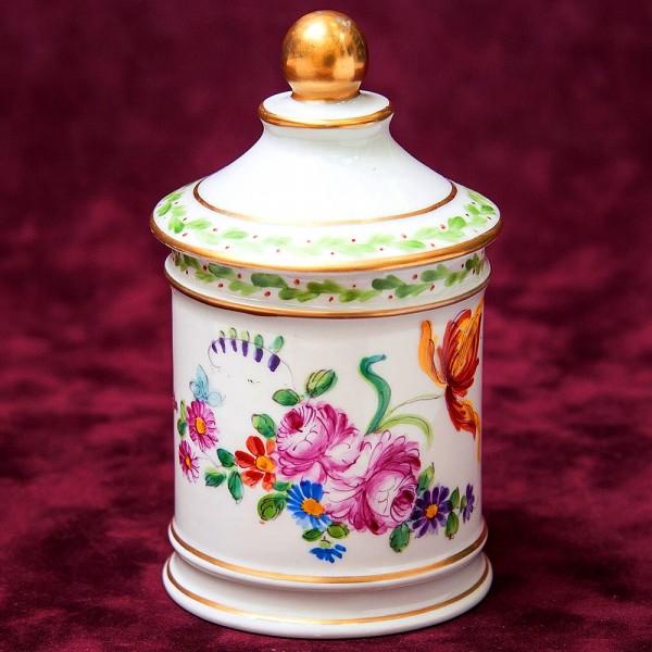 Винтажная Фарфоровая Банка «Цветы и Лето» для сыпучих продуктов, Франция.