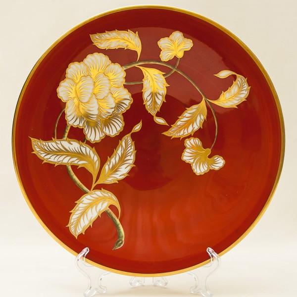 Коллекционная Тарелка - Блюдо из серии «Золото Роз» Фарфор Hertel, Jacob&Co. Германия D-30см.