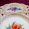 Прорезной Фарфор Коллекционная Тарелка - Блюдо «Садовый букет», SP Dresden Германия.