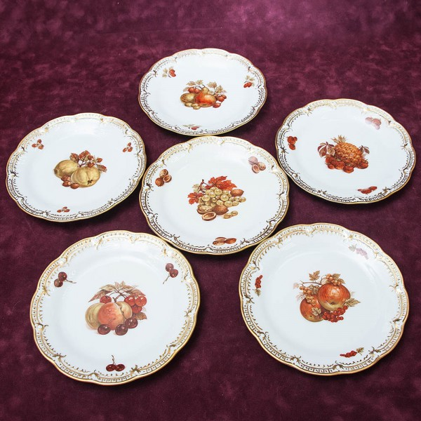 Набор 6 -ть Десертных Тарелок «ФРУКТЫ» Фарфор Hutschenreuther (Хутчеройтер) Германия -70 гг.