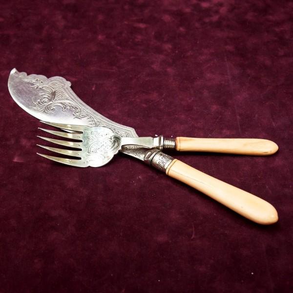 Винтажный Сервировочный Набор для подачи блюд Нож+Вилка, Франция начало ХХ века..