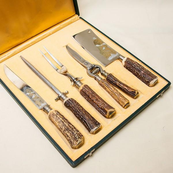 Набор для Барбекю «Охота» - 5 предметов, Германия, DREIZACK SOLINGEN, 70 -е годы ХХ века.