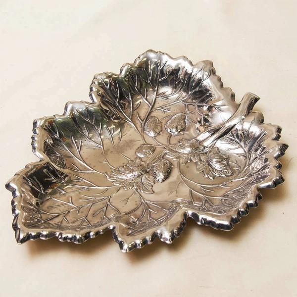 Металлическая Сухарница - Конфетница - Фруктовница «Лист», Silverplate, Sheffield, Англия -50 гг.