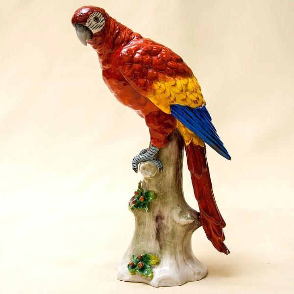 Птица - Коллекционная Фарфоровая статуэтка «ПОПУГАЙ НА ВЕТКЕ» - Н-23 см., SITZENDORF, Германия.
