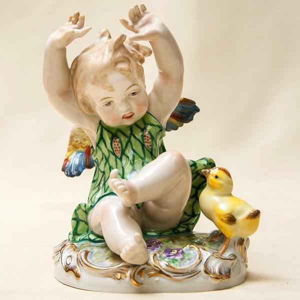 Коллекционная Фарфоровая статуэтка «Девочка-Ангел и Цыпленок» SANDIZELL Германия.