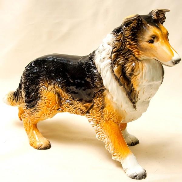 Большая Фарфоровая Статуэтка Собака «Длинношёрстный Колли», GOEBEL, Германия -1971 год.