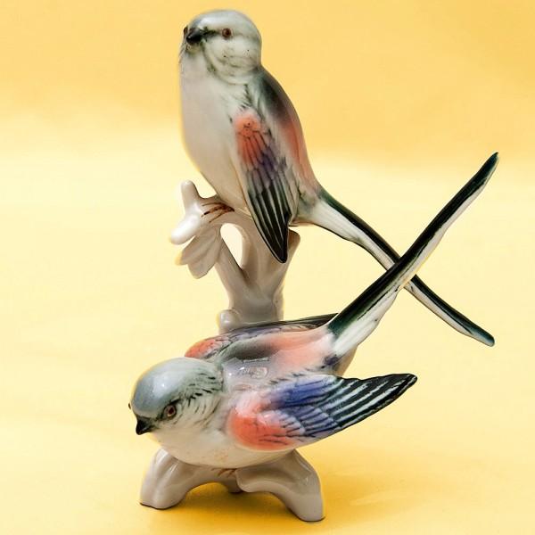 Пара Птиц - Фарфоровая Статуэтка «Длиннохвостые Снегири», Карл Энц / Karl Enz, Германия 50гг.