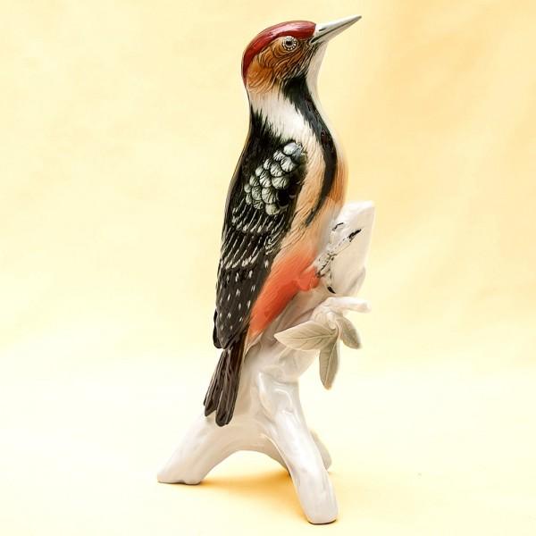 Птица - Фарфоровая статуэтка «Дятел», Карл Энц / Karl Enz,  Германия, 50-е годы ХХ века.
