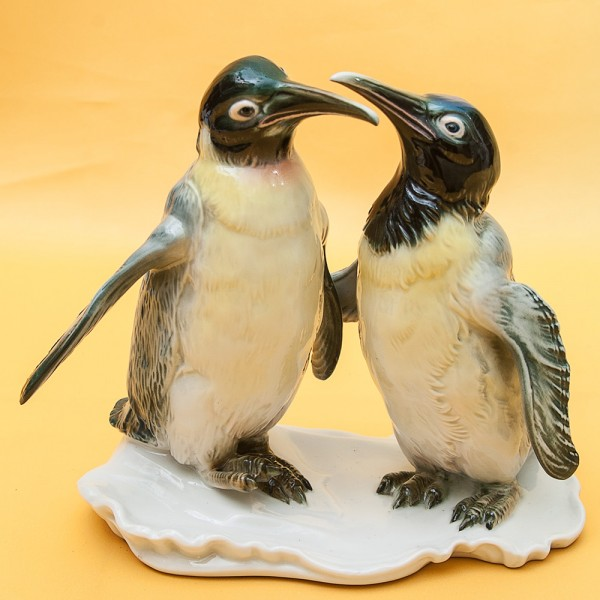 Пара Птиц - Фарфоровая статуэтка «Пингвины», Карл Энц / Karl Enz,  Германия, 50-е гг.