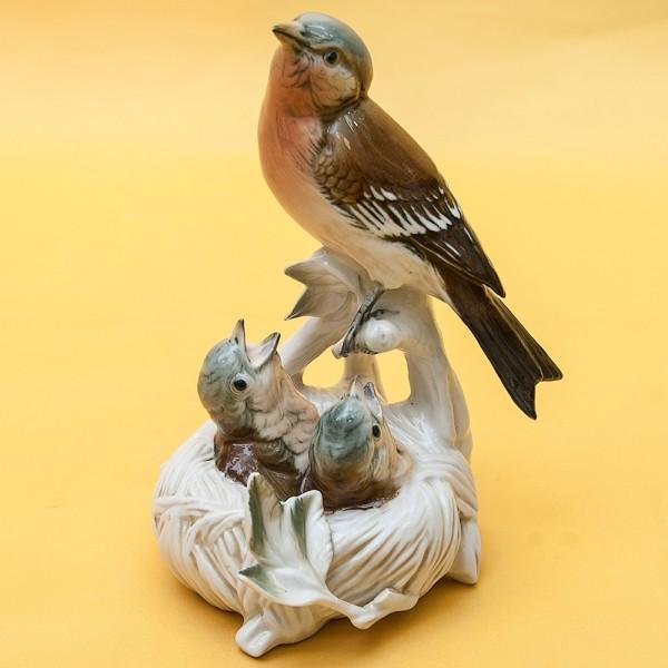 Птицы - Фарфоровая статуэтка «Гнездо», Карл Энц / Karl Enz,  Германия, 50-е годы ХХ века.