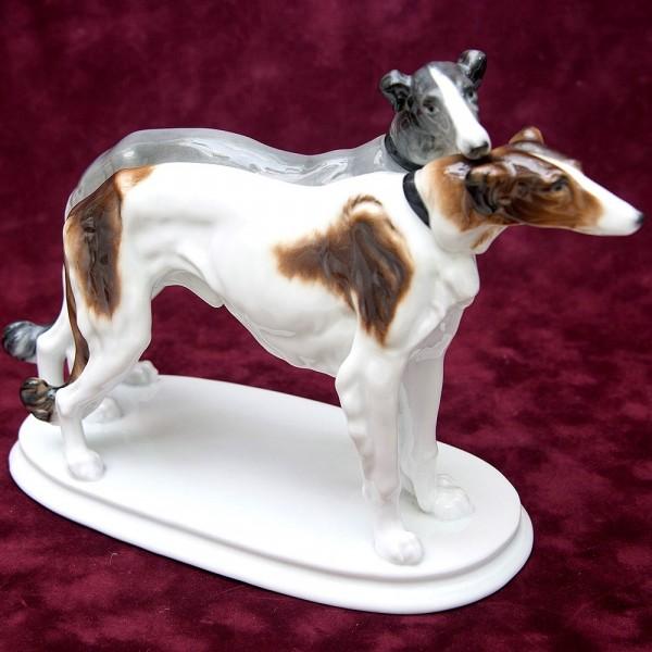 Фарфоровая Статуэтка Пара Собак «Русские Псовые Борзые»,Карл Энц / Karl Enz, Германия -1936 год.