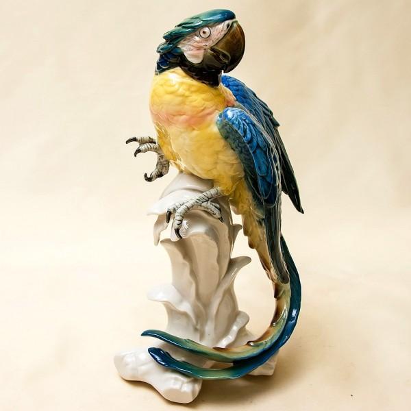 Птица - Большая Фарфоровая Статуэтка «Попугай - Сине-Жёлтый АРА» Н -32 см., Карл Энц / Karl Enz,  Германия.