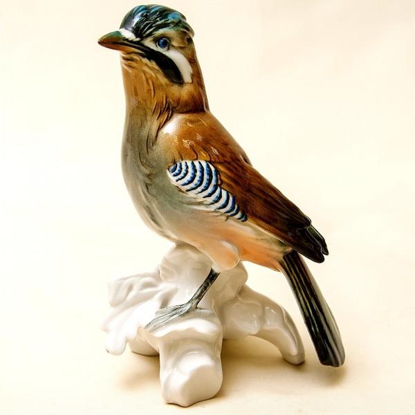 Птица - Фарфоровая статуэтка «Сойка», Карл Энц / Karl Enz,  Германия, 50-е годы ХХ века.