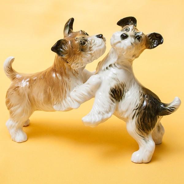 Редкость! Фарфоровая Статуэтка Пара Собак «Терьеры»,Карл Энц / Karl Enz, Германия -1936 год.
