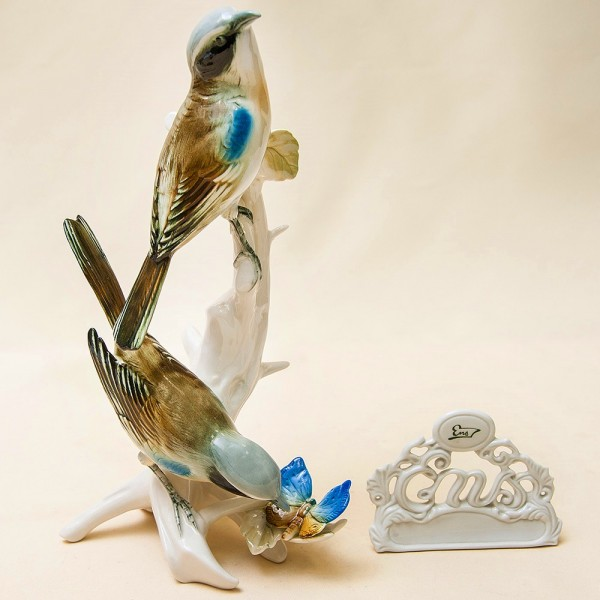 Пара Птиц - Фарфоровая Статуэтка «Бабочка и Синицы», Карл Энц / Karl Enz, Германия 50гг.