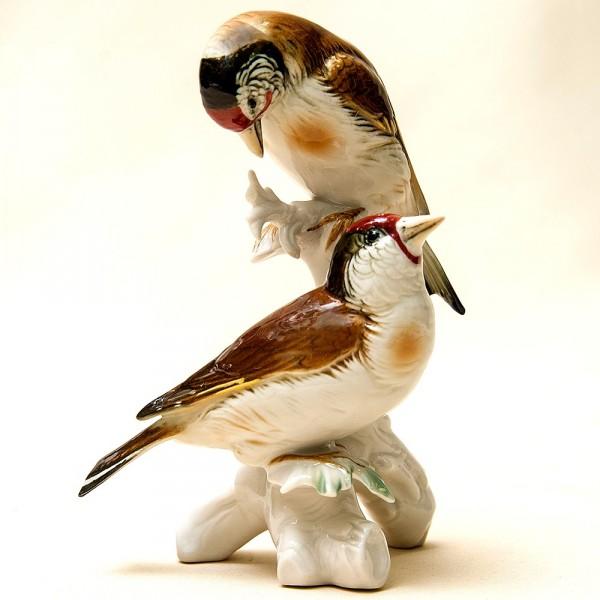 Пара Птиц - Фарфоровая Статуэтка «Щеглы», Карл Энц / Karl Enz, Германия 50гг.