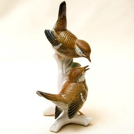 Пара Птиц - Фарфоровая Статуэтка «Крапивники», Карл Энц / Karl Enz, Германия 50гг.