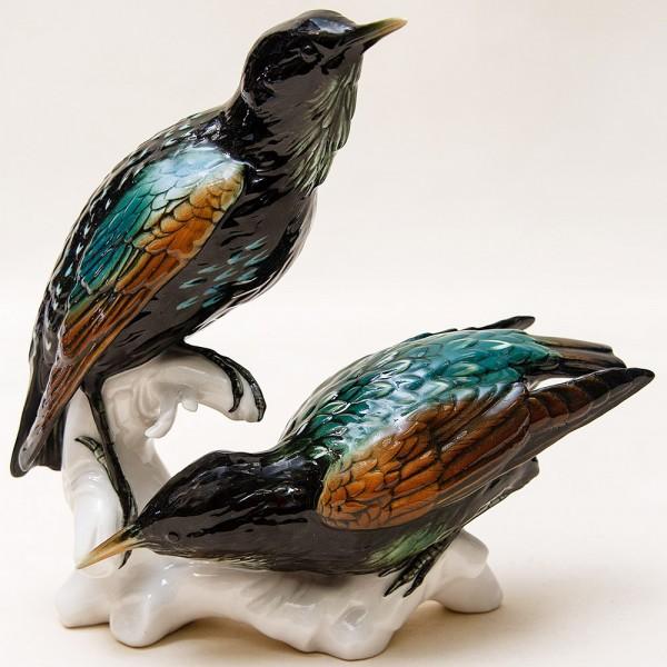 Пара Птиц - Фарфоровая статуэтка «Скворцы», Карл Энц / Karl Enz,  Германия, 50-е гг.