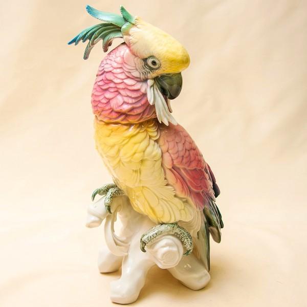 Большая Фарфоровая Статуэтка Птицы «Розовый Какаду» Н -34 см., Карл Энц / Karl Enz,  Германия, 50-е гг.