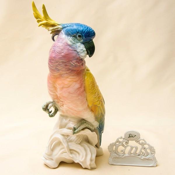 Большая Фарфоровая Статуэтка Птицы «Попугай - Какаду» Н -32 см., Карл Энц / Karl Enz,  Германия, 50-е гг.