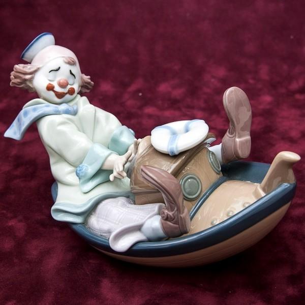 Редкая! Коллекционная Фарфоровая статуэтка «Клоун на кораблике» Lladro, Испания.
