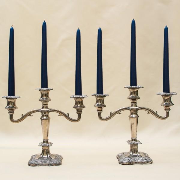 Парные Канделябры - Подсвечники на три свечи, Silverplate, Англия 50-е годы ХХ век.