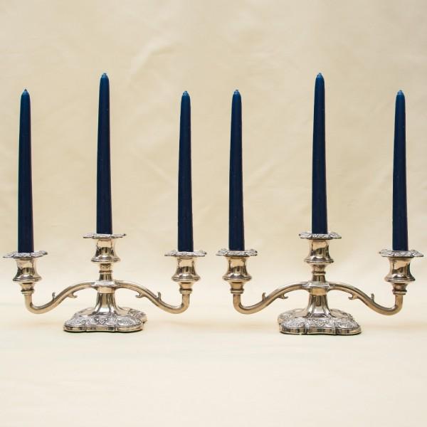 Два Канделябра - Подсвечника на три свечи, Silverplate, Англия 50-е годы ХХ век.
