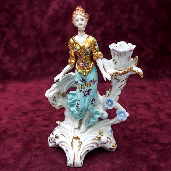 Фарфоровая Статуэтка - Подсвечник на одну Свечу «Девушка в золотом» SANDIZELL Германия.