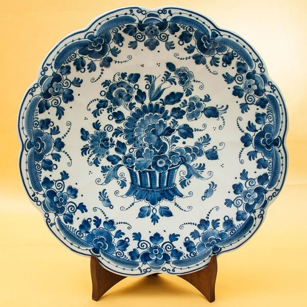 Декоративная Коллекционная Фарфоровая Тарелка «БУКЕТ» DELFT, Голландия, d -30 см.
