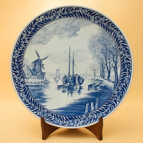 Декоративное Тарелка «На реке» KERALUX BOCH -  DELFTs, Голландия. d-28,5 см.