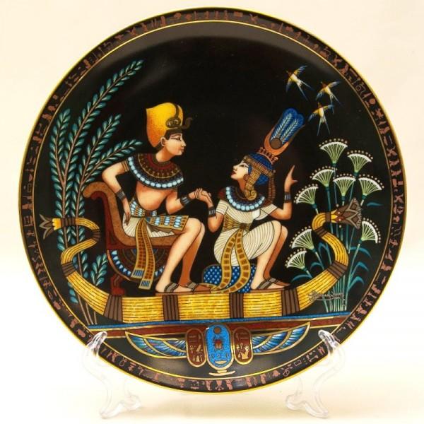 Коллекционная Тарелка - Блюдо «Тутанхамон и его принцесса» Фарфор, Osiris Porcelain -1991 год.
