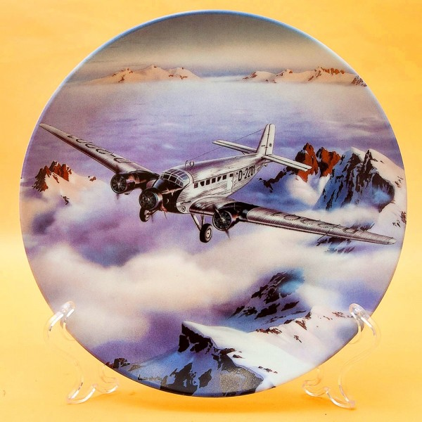 Коллекционная Тарелка «Самолёт - Юнкерс 52 над Альпами» Фарфор, Германия -1994 год.