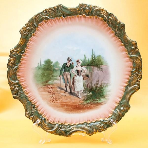 Антикварное Коллекционное Блюдо - Тарелка «Прогулка» Франция, Limoges начало ХХ века.