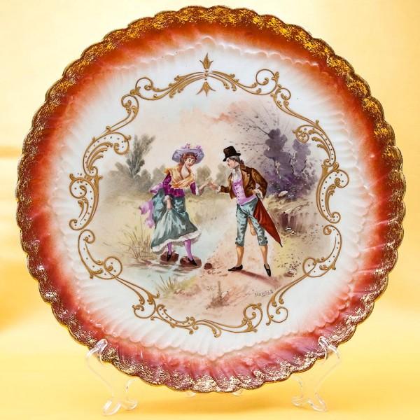 Антикварное Блюдо - Тарелка «Переход через ручей» Франция, Limoges начало ХХ века.