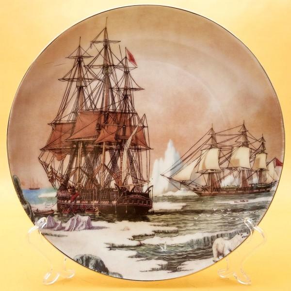 Коллекционная Тарелка «Парусные Корабли - Арктика» Фарфор, Лимож (Limoges) Франция.