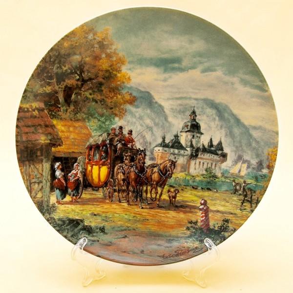 Коллекционная Тарелка «Конный Дилижанс» Фарфор Furstenberg Германия -1988 год.