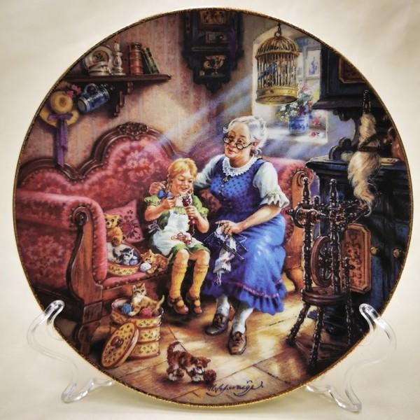 Коллекционная Тарелка «Уроки вязания» Фарфор, Weimar Porzellan Германия -1994 год.